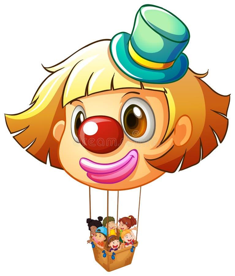 Un grande pallone del pagliaccio con un canestro pieno dei bambini felici royalty illustrazione gratis