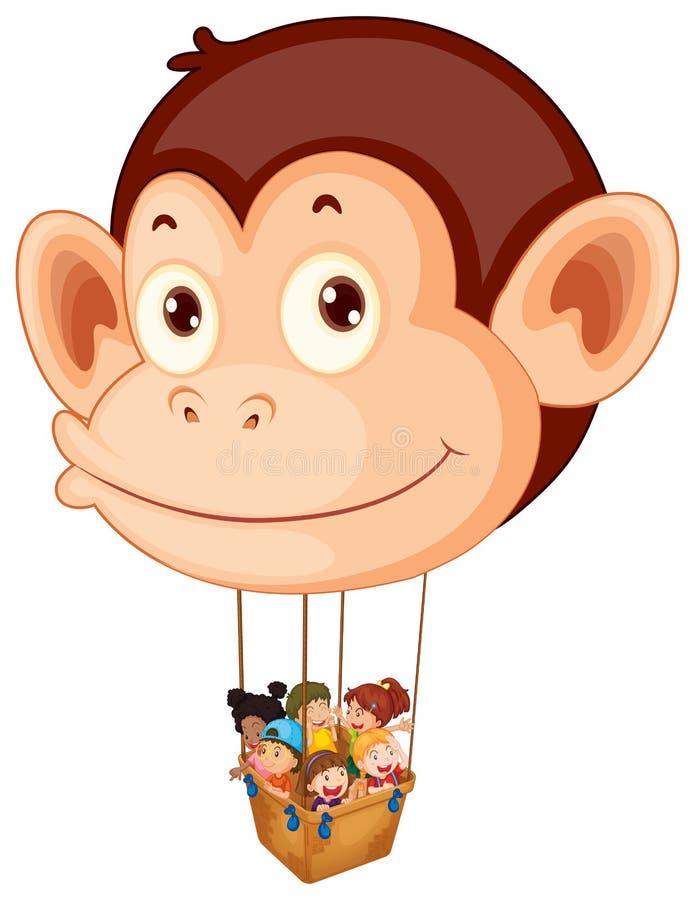 Un grande pallone della scimmia con un canestro pieno dei bambini royalty illustrazione gratis