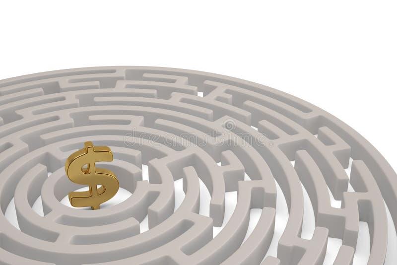 Un grande simbolo di dollaro dorato nel centro del labirinto illustrazione 3D royalty illustrazione gratis