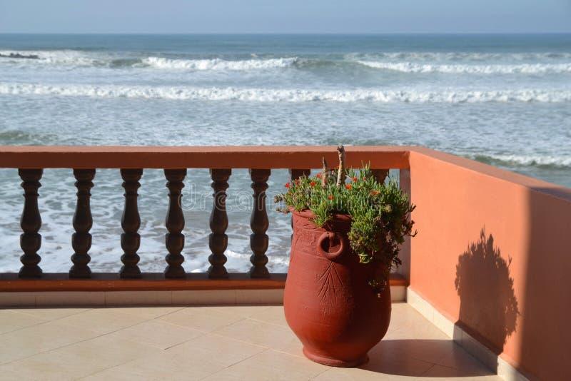 Un grande vaso di argilla con una pianta sta su un terrazzo che trascura l'Oceano Atlantico un giorno soleggiato immagine stock libera da diritti