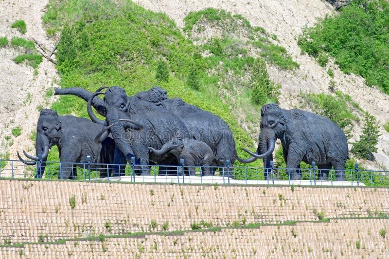 Un gregge dei mammut lanosi, una composizione scultorea all'aperto in Chanty-Mansijsk, Russia fotografie stock
