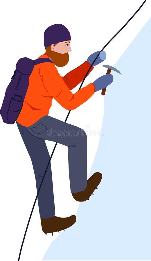 Un grimpeur Un homme qui monte une roche de neige avec une hache de corde et de glace de sécurité illustration libre de droits