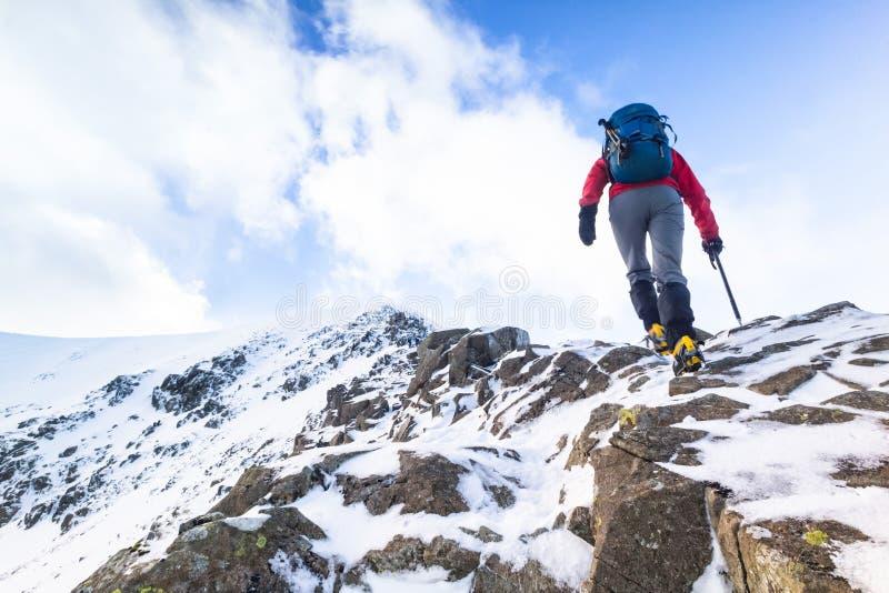 Un grimpeur montant une neige a couvert l'arête photographie stock libre de droits