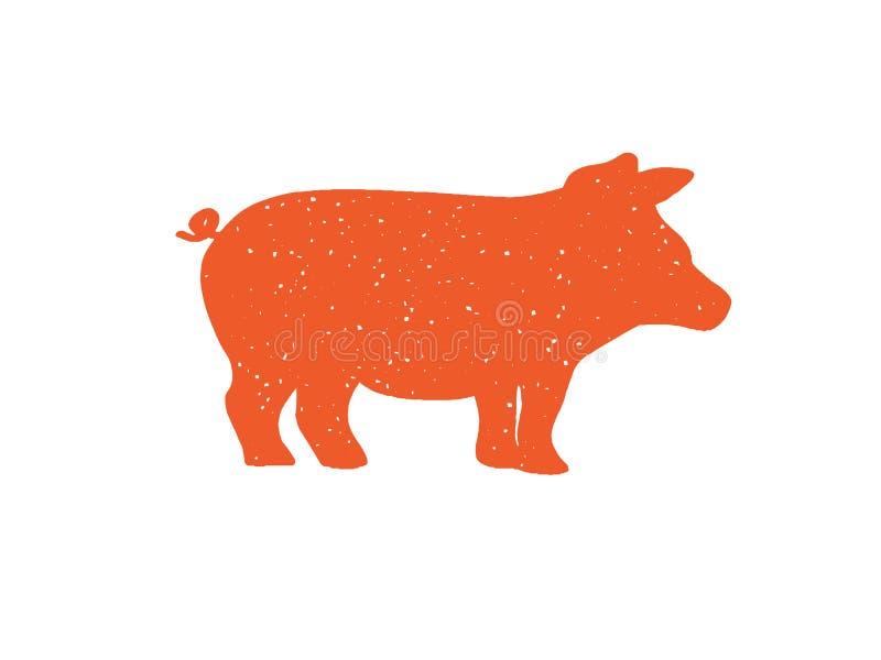 Un gros costume de porc pour le logo ou graphique pour le menu illustration stock