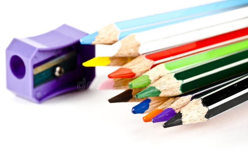 Un groupe, collection de crayons de couleur images stock
