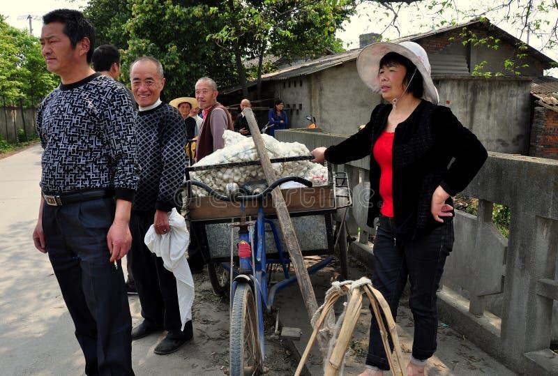 Ville de Chi de Jiu, ch : Agriculteurs avec des ampoules d'ail photos libres de droits