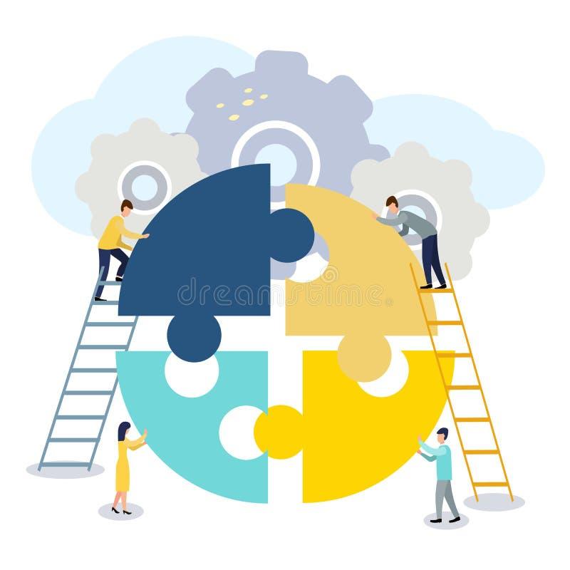 Un groupe d'hommes d'affaires impliqués dans des morceaux de puzzle, doit soutenir l'équipe, l'échange d'idées ou le succès, pour illustration de vecteur