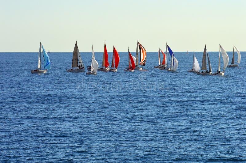 Un groupe de bateaux à voile photos libres de droits
