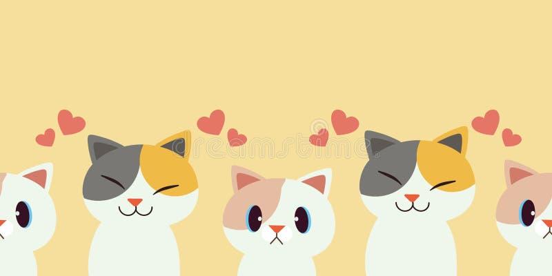Un groupe de chats est un modèle transparent Motif sans pareille de l'ensemble de chats mignons chat de caractère mignon avec un  illustration de vecteur