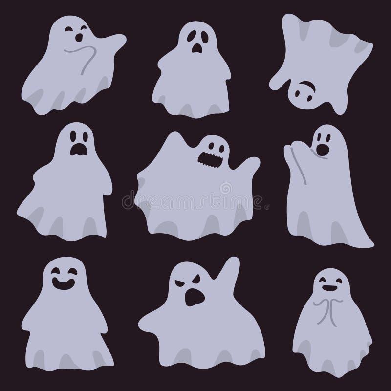 Un groupe de fantômes d'isolement sur un fond foncé Caract?res de Halloween Illustration de vecteur dans la bande dessin?e illustration libre de droits