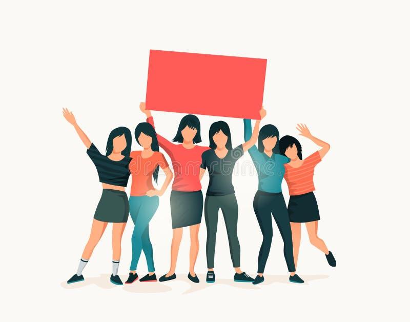 Un groupe de femmes se tenant retardant ensemble un signe illustration libre de droits
