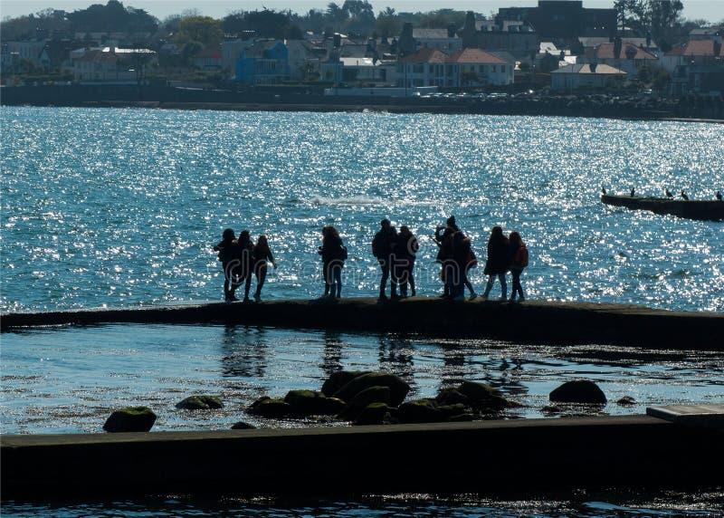 Un groupe de jeunes visiteurs a attrapé en silhouette ayant l'amusement au pilier est dans le port de Dunlaoghaire un matin lumin photos stock