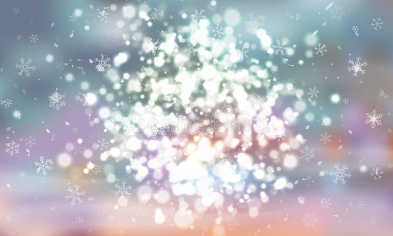 Un groupe de lumières rougeoyantes de différentes tailles Lumières brouillées Les lumières de ville la nuit Sur le fond bleu Vect illustration libre de droits