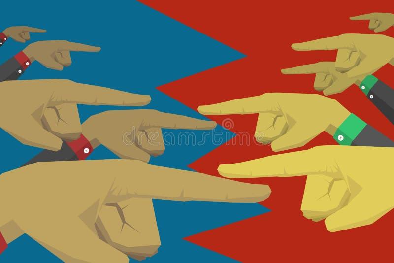 Un groupe de mains chacun nomment un un autre illustration de vecteur