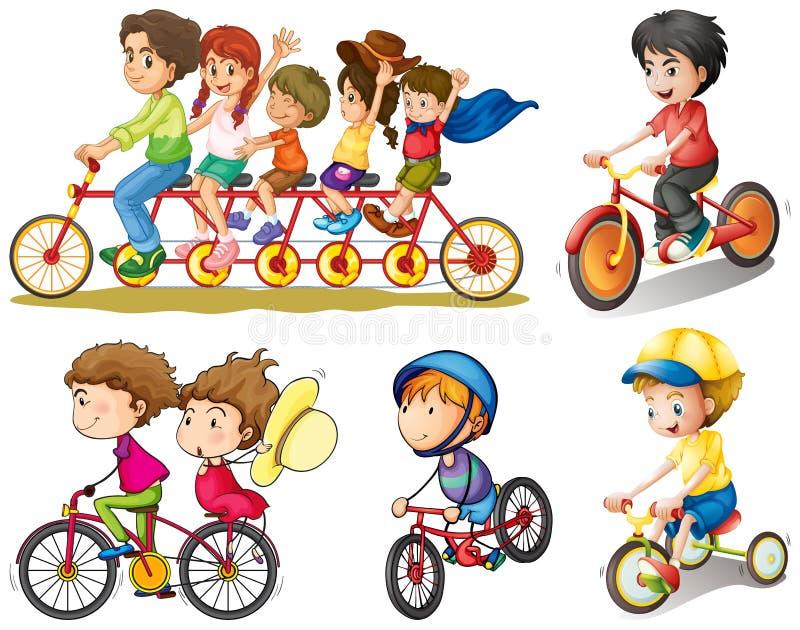 Un groupe de personnes faire du vélo illustration stock