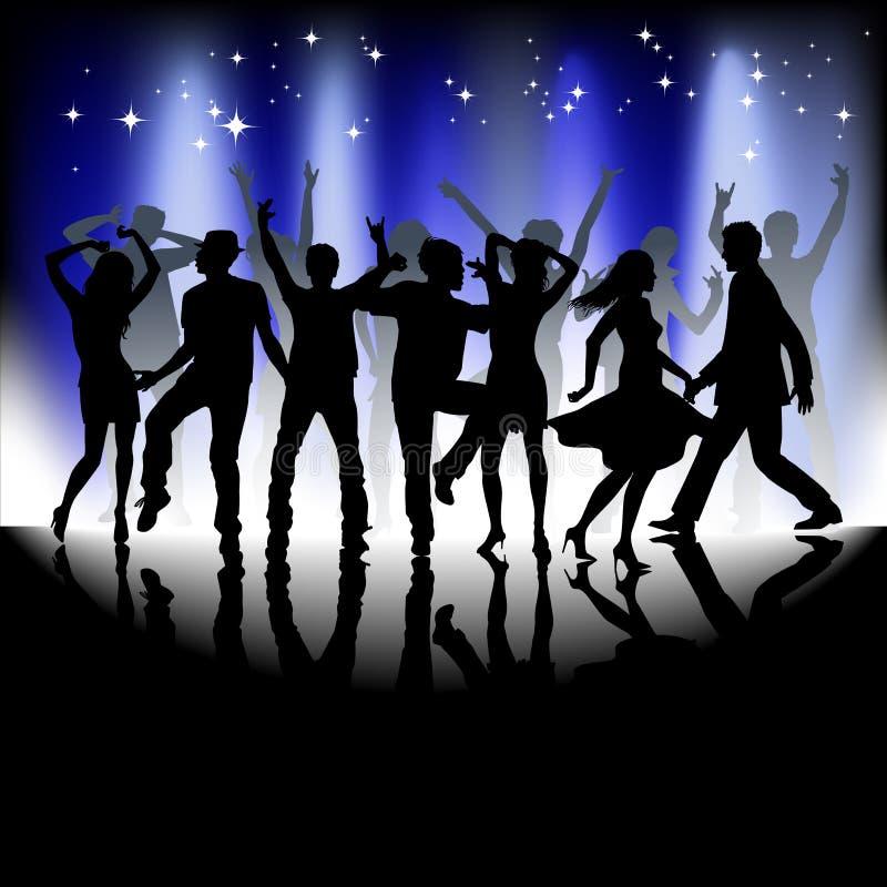 Un groupe de personnes profitant d'un agréable moment dans la disco illustration de vecteur