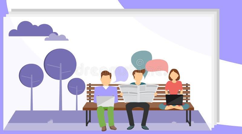 Un groupe de personnes se reposant sur un banc de parc et lisant des journaux Le concept de la récréation passive en parc Vecteur illustration stock