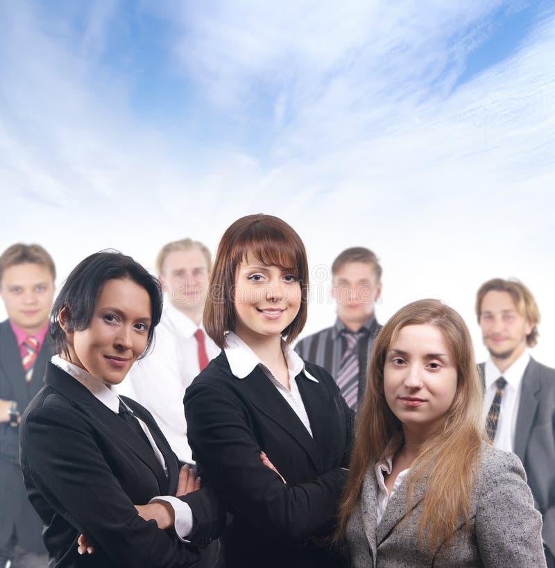 Un groupe de sept jeunes gens d'affaires images libres de droits