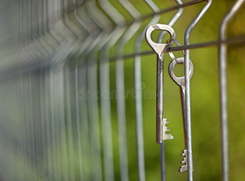 Un groupe de vieilles clés de porte en métal de cru accrochant sur un grillage avec un fond brouillé image stock