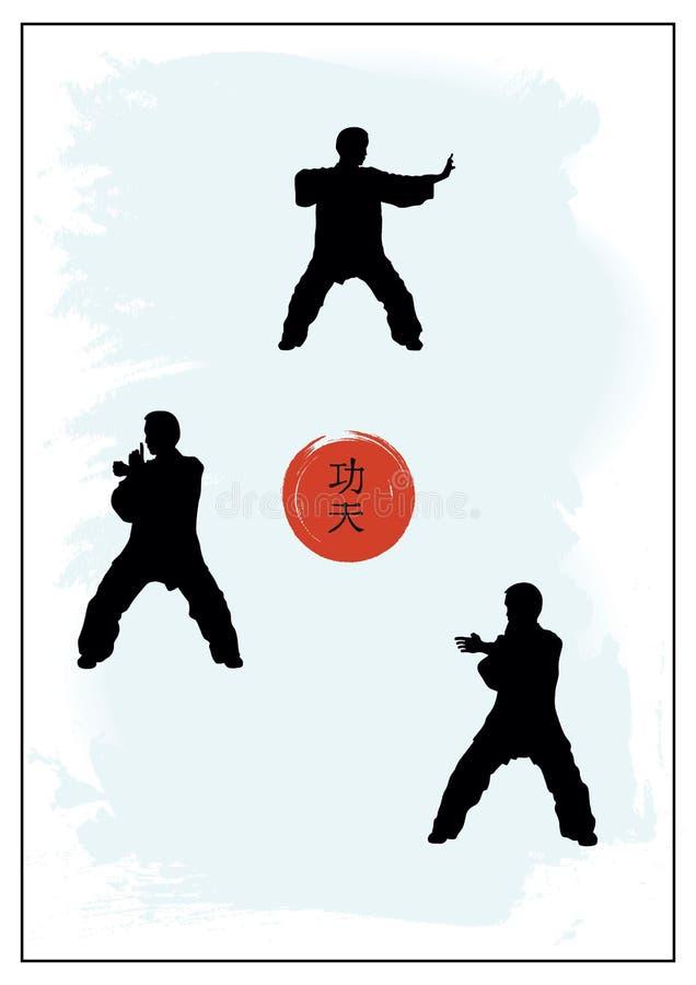 Un groupe des hommes montrant Kung Fu illustration stock