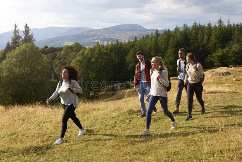 Un grupo étnico multi de cinco amigos adultos jovenes sonríe mientras que camina en una trayectoria rural durante un alza de la m foto de archivo