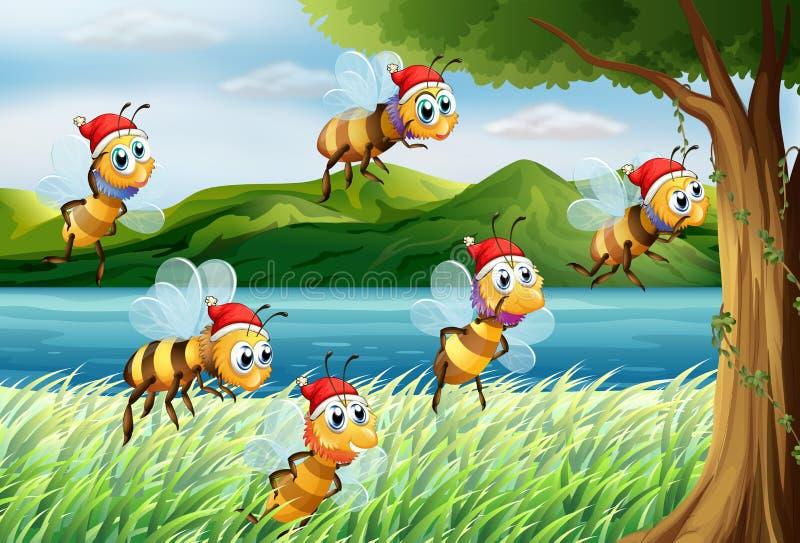 Un grupo de abejas que van al árbol en el riverbank stock de ilustración