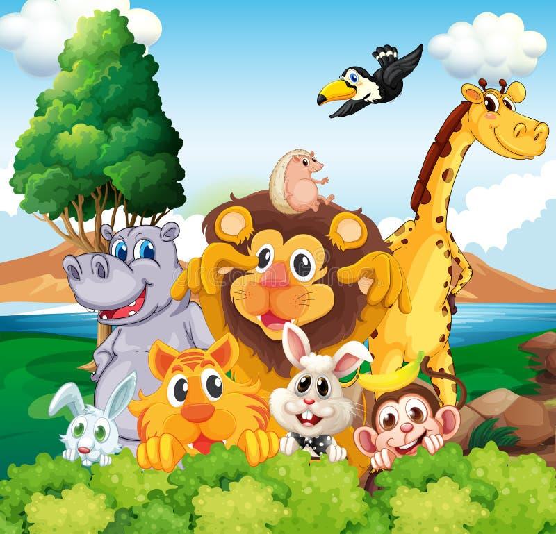 Un grupo de animales cerca del río stock de ilustración