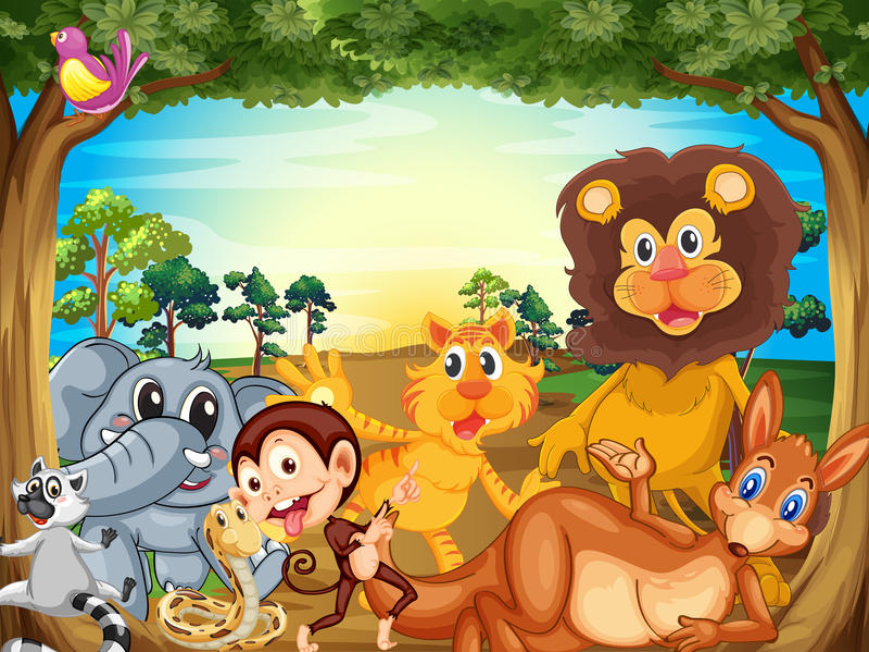 Un grupo de animales que se relajan debajo del árbol stock de ilustración