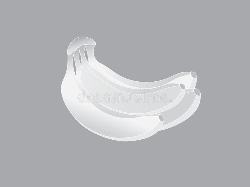 Un grupo de dibujo fresco blanco del icono de la fruta del plátano en el papel gris ilustración del vector