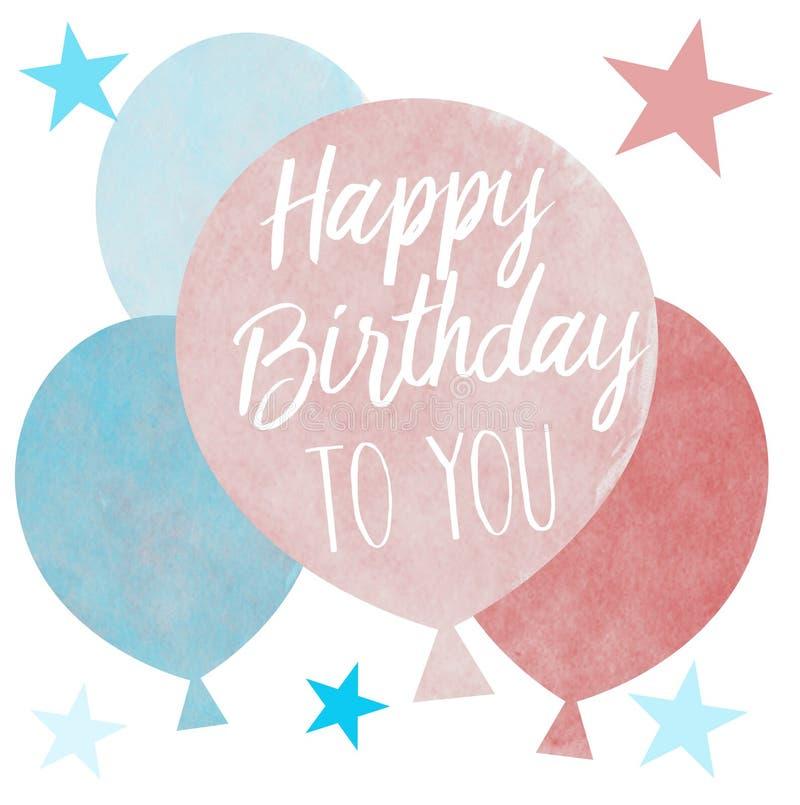Un grupo de globos coloreados en colores pastel exhaustos de la mano con el saludo del feliz cumpleaños libre illustration
