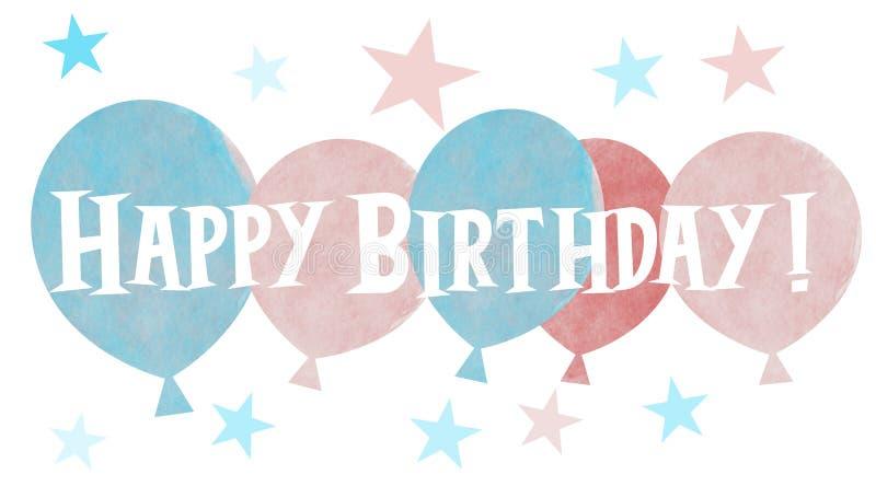 Un grupo de globos coloreados en colores pastel exhaustos de la mano con el saludo del feliz cumplea?os imagen de archivo libre de regalías