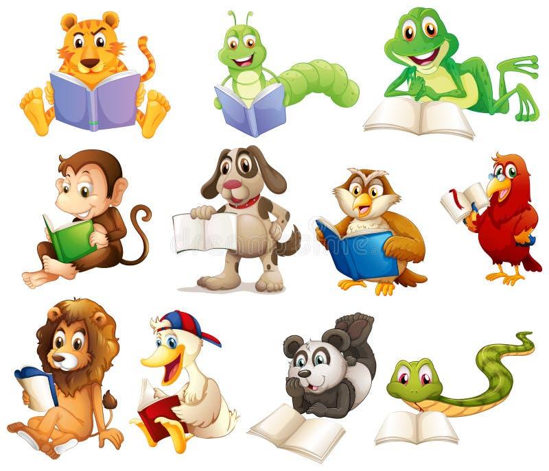 Un grupo de lectura de los animales stock de ilustración