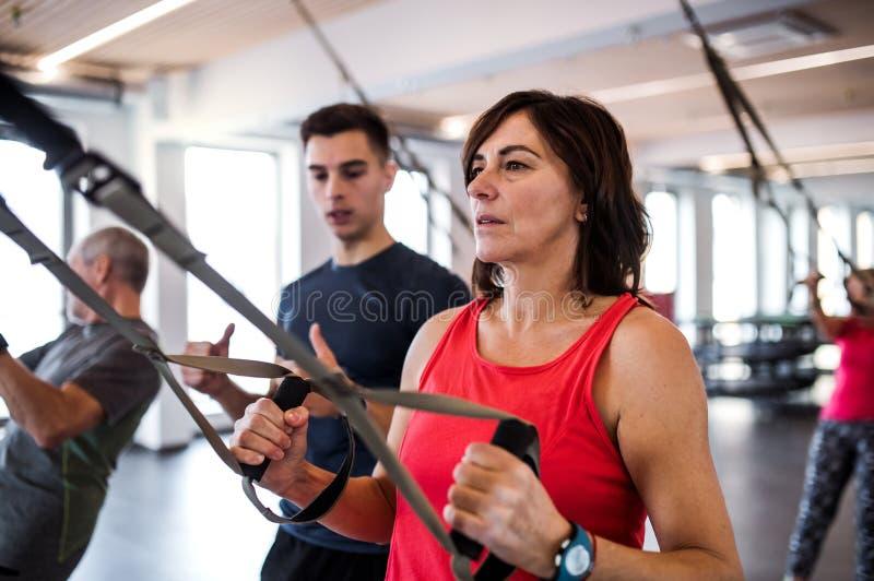 Un grupo de mayores alegres en gimnasio con un instructor joven que hace ejercicio con TRX foto de archivo