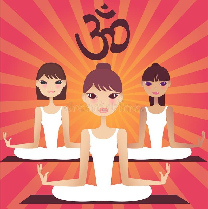 Un grupo de muchachas de la yoga stock de ilustración