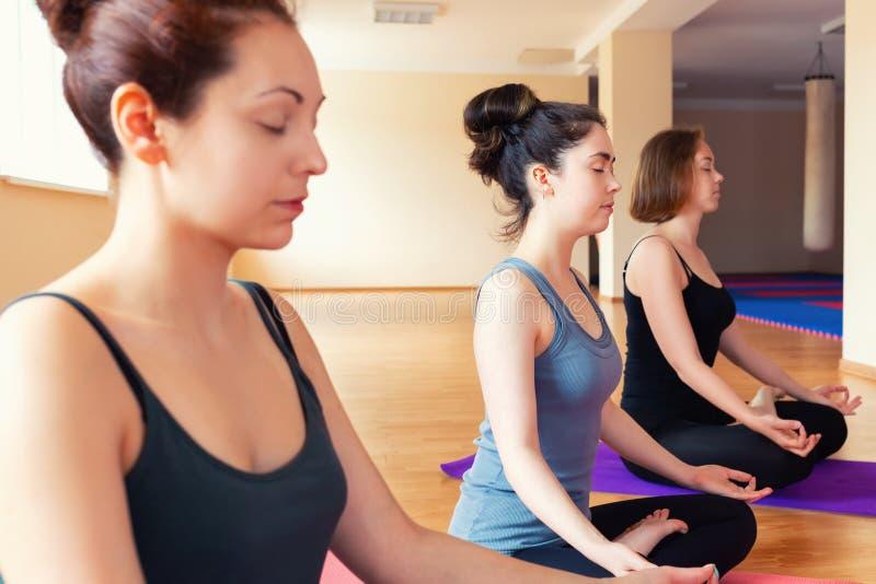 Un grupo de mujeres jovenes que hacen yoga en la sala de clase, haciendo la meditación El concepto de práctica de los deportes, d fotos de archivo