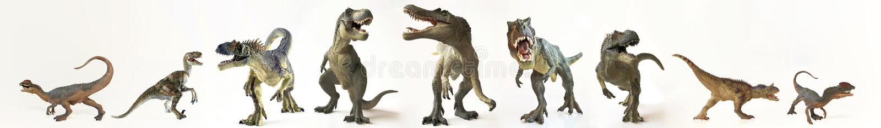 Un grupo de nueve dinosaurios en fila stock de ilustración