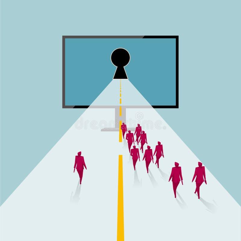 Un grupo de personas caminó a la pantalla de ordenador Mundo de la red virtual libre illustration