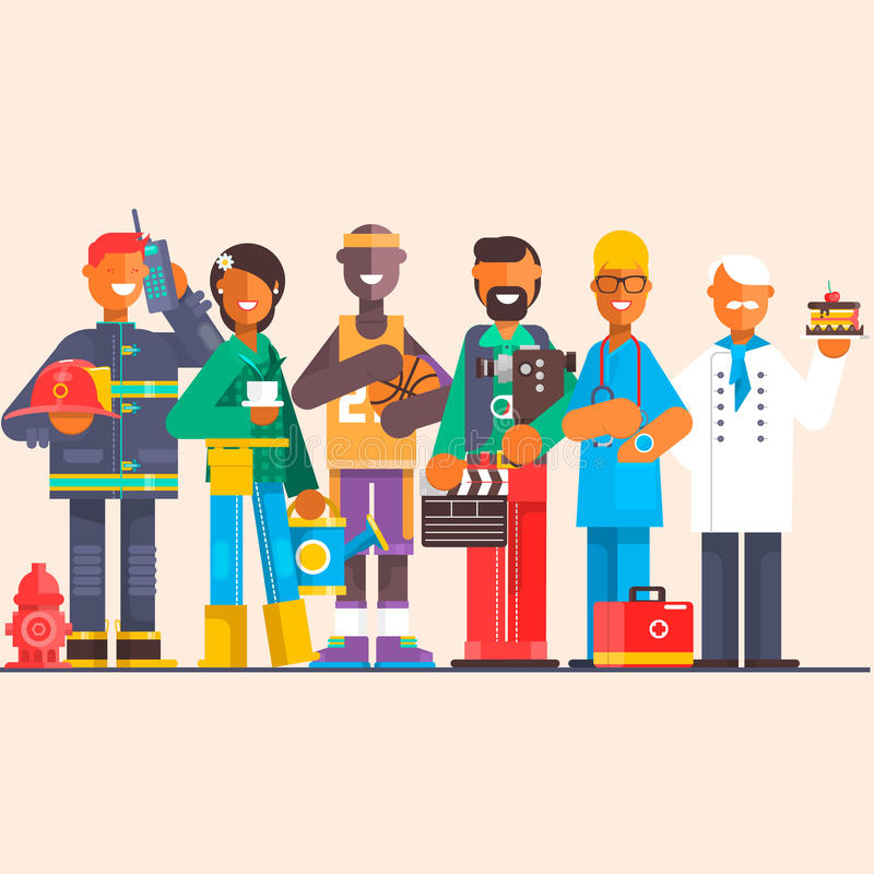 Un grupo de personas de diversas profesiones en un fondo aislado Día del Trabajo Ejemplo plano del vector stock de ilustración