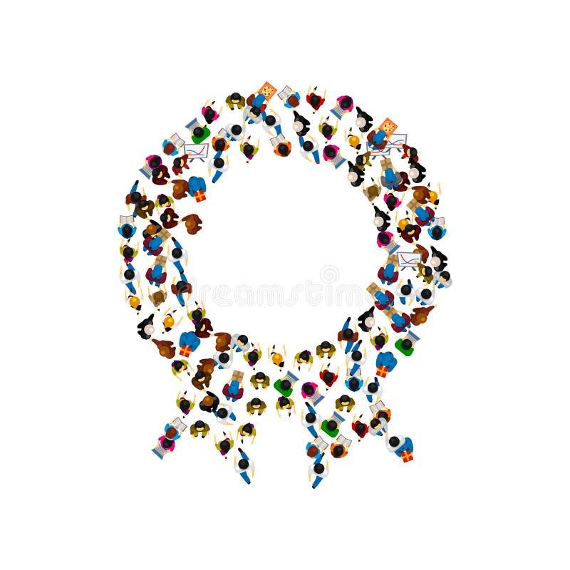 Un grupo de personas en una forma de la medalla Ilustración del vector libre illustration