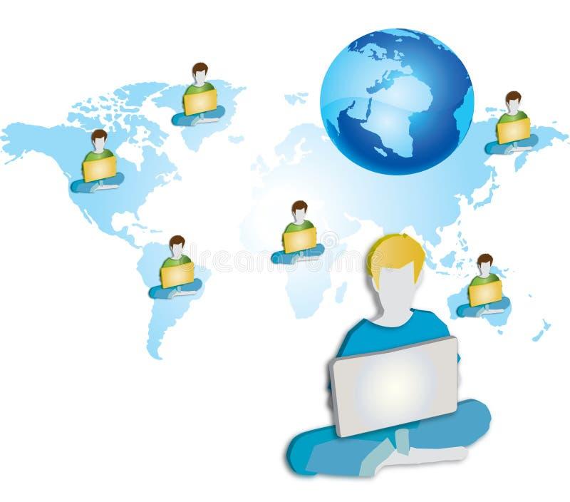 Un grupo de personas que usa el ordenador portátil de A ilustración del vector
