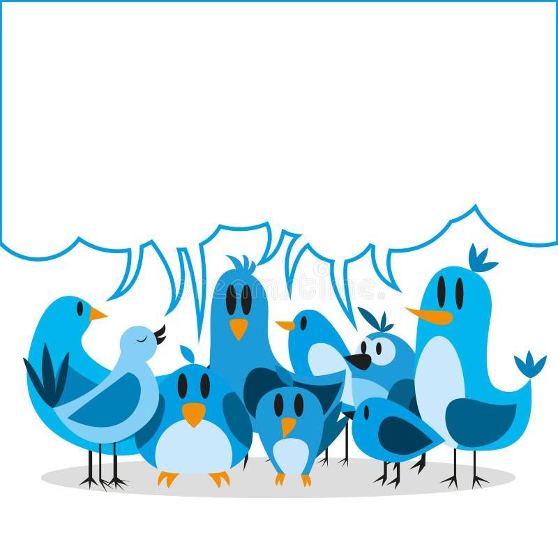 Un grupo lindo de la historieta del vector de pájaros azules y tablero para el texto stock de ilustración