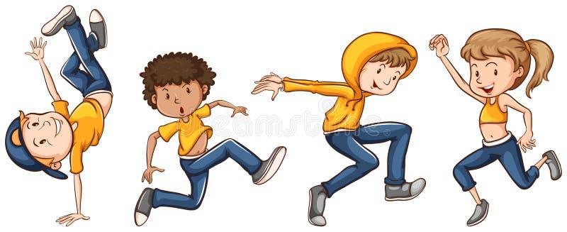 Un gruppo di ballerini illustrazione di stock