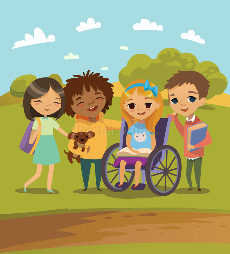 Un gruppo di bambini felici con i libri e l'animale domestico che imparano insieme e che giocano Bambino handicappato in una sedi illustrazione vettoriale