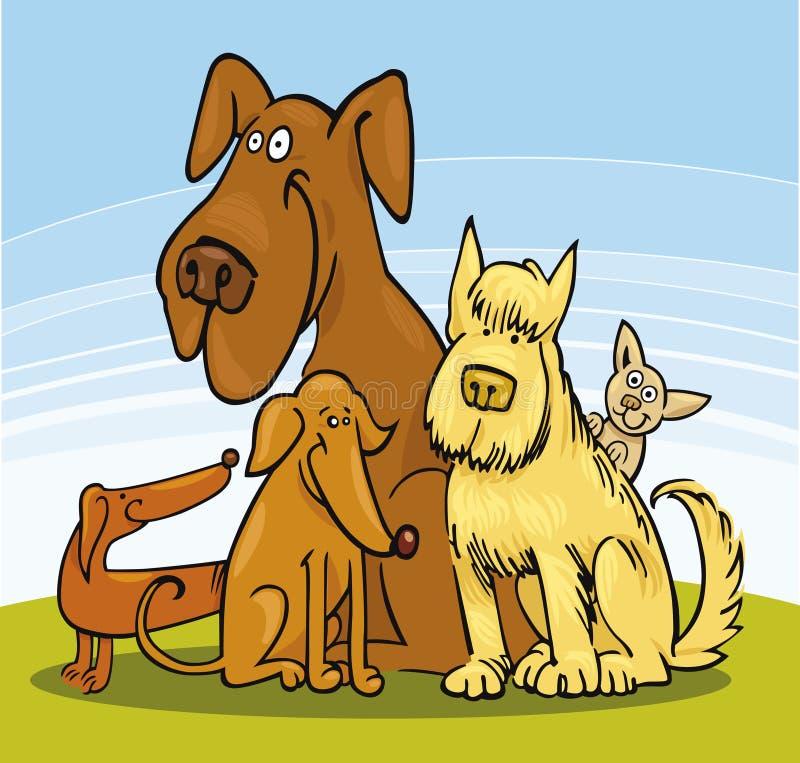 Un gruppo di cinque cani illustrazione di stock