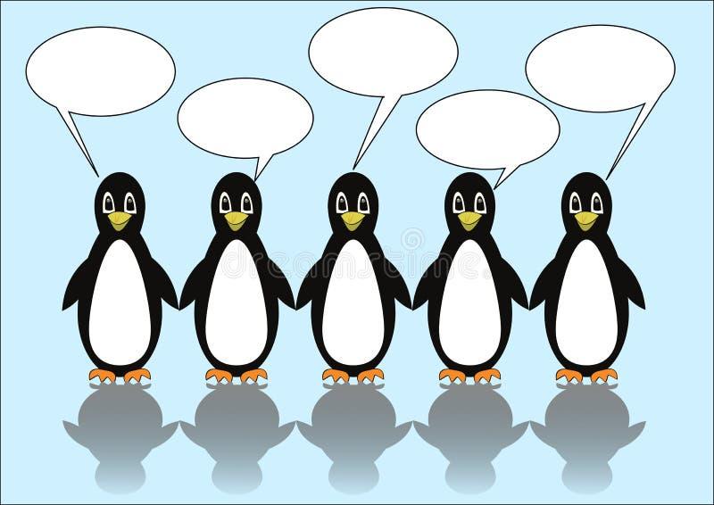 Un gruppo di cinque pinguini con i fumetti Callouts in bianco per il proprio messaggio Illustrazione sveglia su ghiaccio blu-chia illustrazione di stock