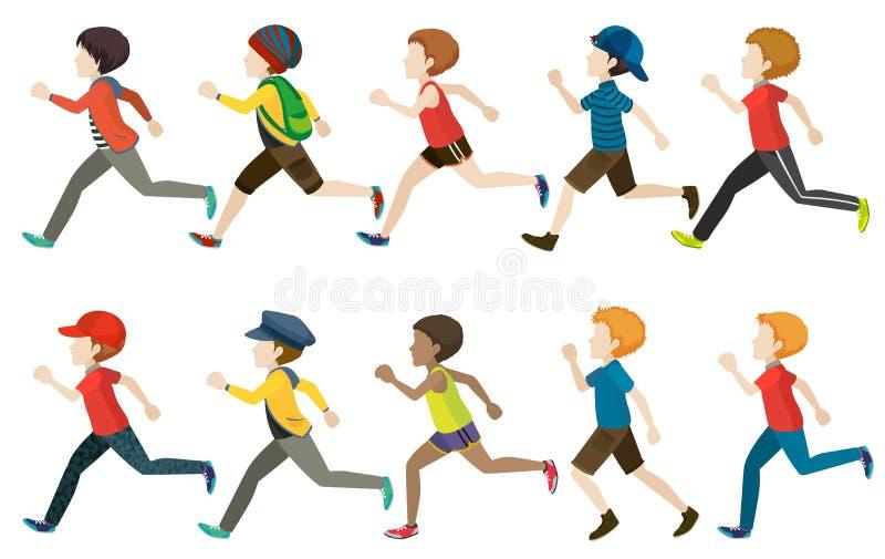 Un gruppo di correre dei bambini illustrazione di stock