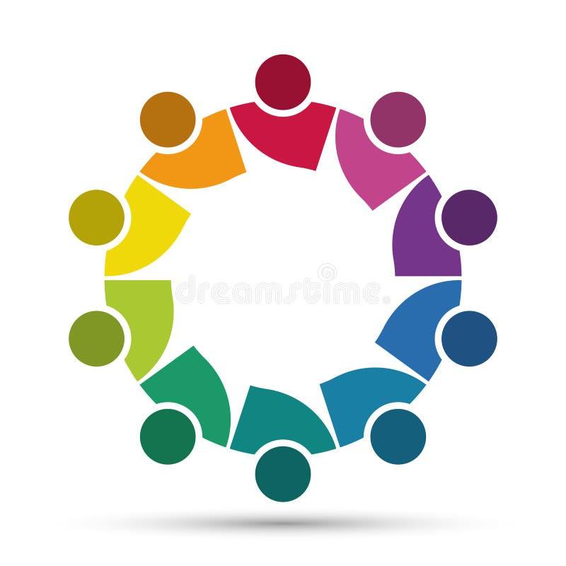 Un gruppo di dieci persone nel cerchio Sorelle che tengono le mani I lavoratori della sommit? stanno incontrando nella stessa sta illustrazione vettoriale