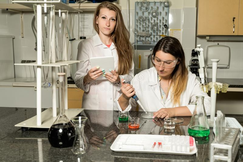 Un gruppo di due tecnici di laboratorio femminili che lavorano nel laboratorio chimico o farmaceutico fotografia stock libera da diritti