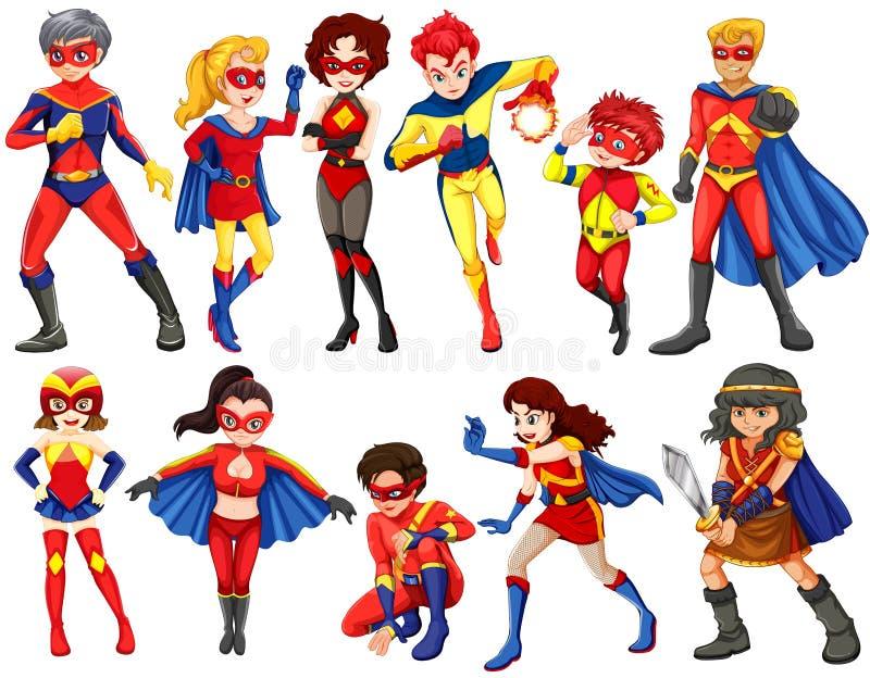 Un gruppo di eroi illustrazione vettoriale