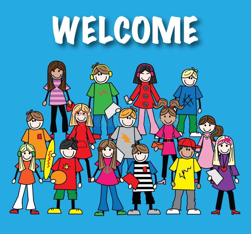 Un gruppo di giovani illustrazione vettoriale